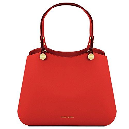 Tuscany Leather Anna Borsa a mano in pelle Celeste Rosso Lipstick