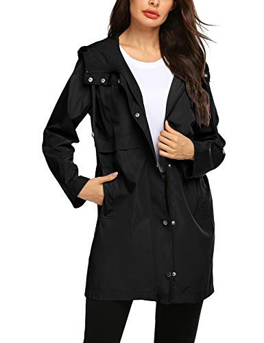 Avoogue Raining Jackets Women Camping Outside Rain Coats Hooded Zip Up Athletic Coat Black