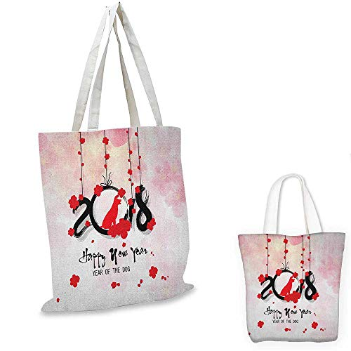 "Year of the Dog canvas shoulder bag Brush Calligraphy New Year with Cherry Blossom Silhouettes canvas lunch bag Vermilion Black Pale Pink. 13""x13""-10"""