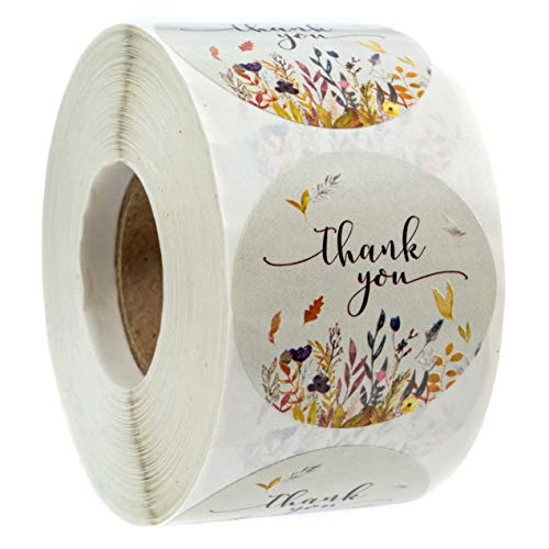 Autumn Floral Thank You Stickers - 1.5 Circle Labels / 500 per Pack