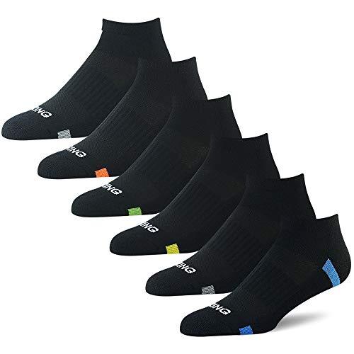 BERING Men's Athletic Low Cut Ankle Socks for Running, Walking, Golf (6 Pack) (Man Neon No Show Socks)
