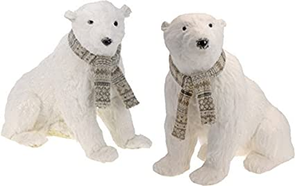 Chiccie Large Sitting Polar Bear With Scarf Glitter Decoration 38cm