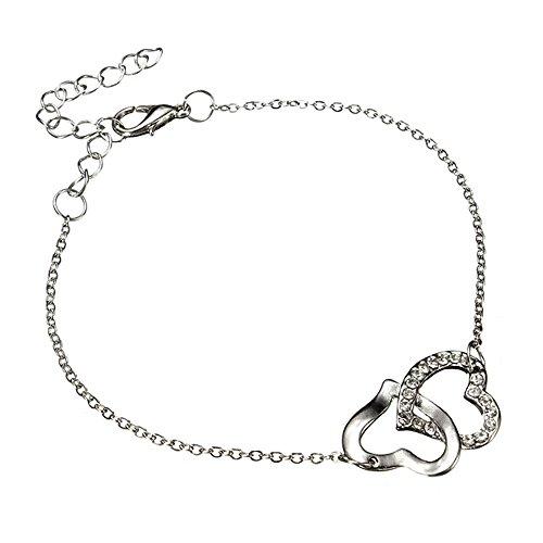 Elegant Silber Herz Armband | Herz in Herz Zirkonia Armkette | Kristall Armreif mit verflochtenen Herzen