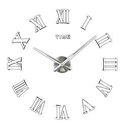 Frameless Modern Mute DIY Large Wall Clock 3D Sticker Home Office Decor Gift(Silver)