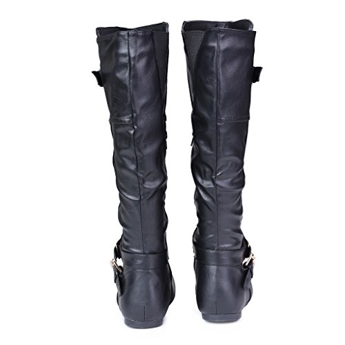 Black Wide Tall Wide Width Women's Boots Studs Shelly Stitched Twisted Pannel Pyramid Calf with ExgqOwwB