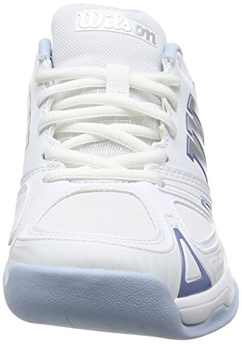 Wilson Rush Evo Carpet W Wh/Wh/Cashmere B 4, Scarpe da Tennis Donna, Bianco (White/White/Cashmere Blue), 37 EU