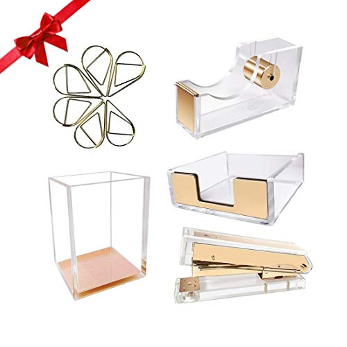 UNIQOOO 5 Count Super Thick Clear Acrylic Gold Finish Stationery Set - Desk Stapler, Pen Holder, Tape Dispenser, Memo Case, Paper Clips- Great for Modern Office, Arts Lover, Calligrapher, Xmas Gift