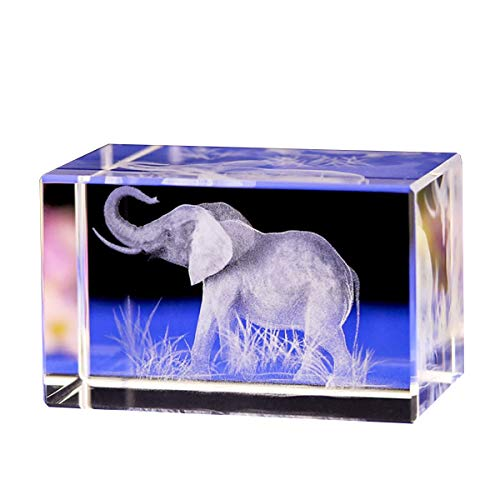 (Jaswass 3D Laser Etched Crystal Elephant Statue 2x2x3.14 Inch with Gift Box for Home Decoration Holiday Party Office Decoration Craft Gift Children Gift)