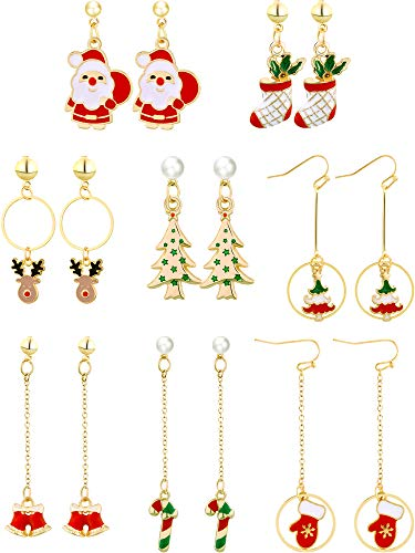 (Gejoy 8 Pairs Christmas Dangle Earrings Set Long Drop Earrings with Santa Tree Elk Patterns, 8 Styles)