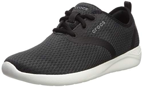 Crocs Women's LiteRide Mesh Lace-Up Sneaker, Black/White, 9 M US (Best Tennis Shoes For Knee Problems)