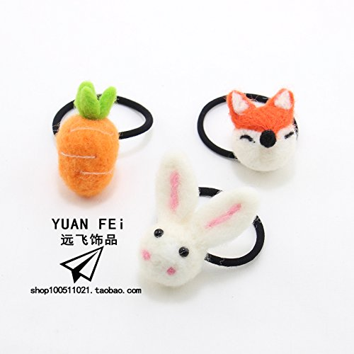 Cute stuffed bunny carrot ring hair Super Meng small fox animal hair rope Korean head rope tied selling Meng leather flower for women girl lady by Generic