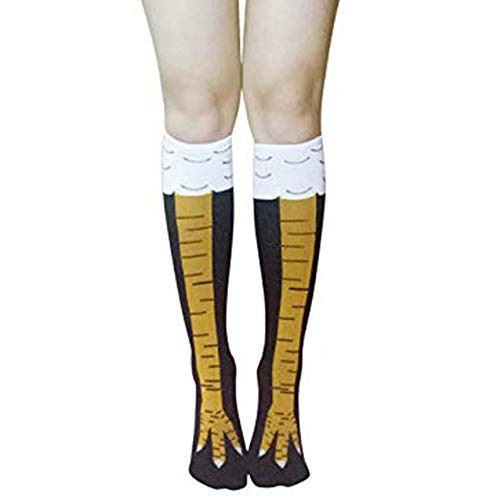 Women Girls Knee High Socks Novelty Cute Ostrich Leg Animal Over Calve Cosplay Tube 1 -