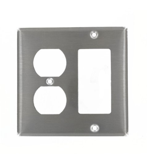 (Leviton 84455-40 2-Gang 1-Duplex Decora/GFCI Device Combination Wallplate, Device Mount, Stainless Steel)