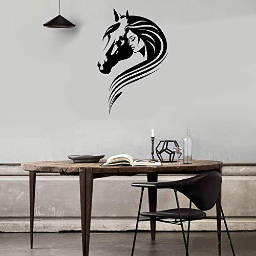 Lettering Words Wall Mural DIY Removable Sticker Decoration Beautiful Girl with Horse Head Pet Room