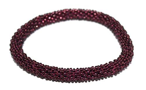 Crochet Bracelet Glass Seed Bead Bracelet Roll on Bracelet Nepal Bracelet SB473