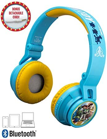 eKids Toy Story 4 Kids Bluetooth Headphones, Wireless Headphones with Microphone Includes Aux Cord, Volume Reduced Kids Foldable Headphones for School, Home, or Travel