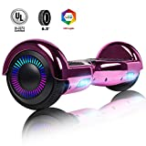 Felimoda Hoverboard 6.5'' Self Balancing Scooter w/UL 2272 Certified LED Lights for Adults Kids(Chrome Rose Red(no bouetooth))