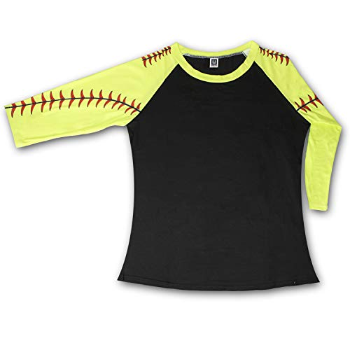 KnitPopShop Softball Baseball 3/4 Length Long Sleeved T Shirt for Mom Fans Apparel Sleeves Gifts Team (Black/Yellow, XX-Large)