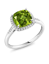 10K White Gold 2.45 Ct Cushion Cut Green Peridot White Diamond Solitaire Ring