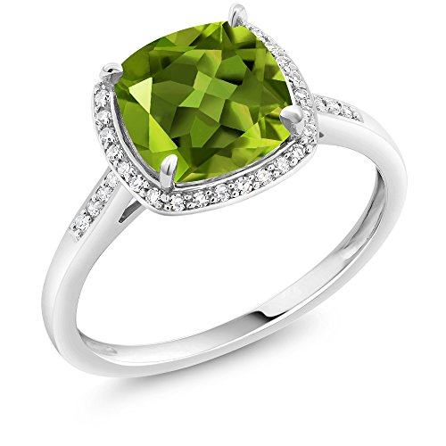 10K White Gold Green Peridot and Accent Diamonds Women's Ring (2.45 Ct Cushion Available in size 5, 6, 7, 8, 9)