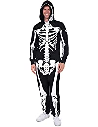 Tipsy Elves' Men's Skeleton Jumpsuit - Scary Black and White Halloween Jumpsuit
