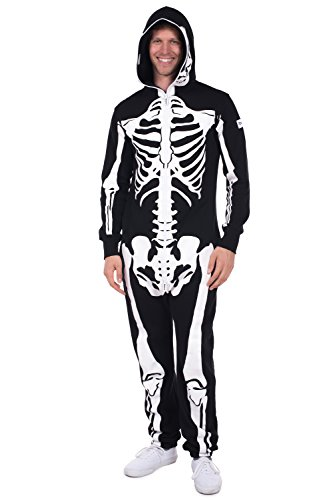 Tipsy Elves Men's Skeleton Jumpsuit - Skeleton Halloween Costume for Men: Medium