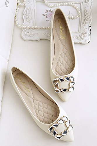QZUnique Womens Pointed Toe PU Leather Ballet Slip On Boat Rhinestone Flat Shoes Apricot GhSBNrL