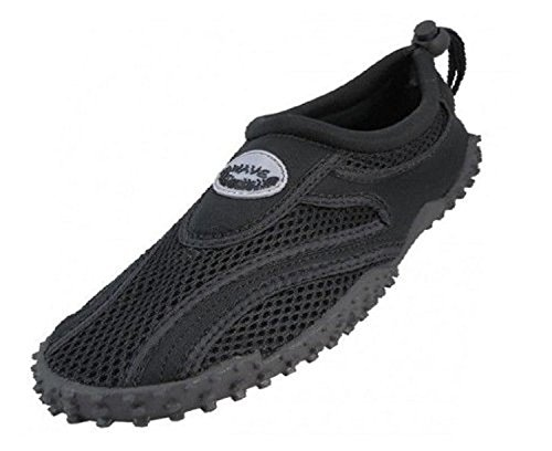 Easy USA Womens Aqua Wave Water Shoes (5, Black/Black)