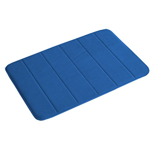 Memory Foam Bath Mat Non Slip Absorbent Super Cozy Velvety Bathroom Rug Carpet (Royal Blue Striped Pattern 17×24-Inches)