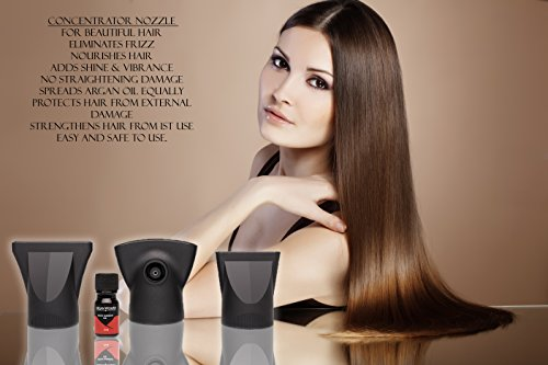 Hair Dryer Nozzle Box, 3 pro salon Styling Nozzles for hair dryer 1 concentrator nozzle and argan oil botle 1 wide nozzle & high pressure nozzle Best straightening for damaged, dry hair & hair loss by Argan Woman (Image #2)