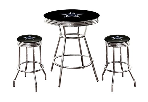 Cowboys pub table dallas cowboys pub table cowboys pub tables black pubbar table and 2 29 swivel stools all featuring your fav watchthetrailerfo
