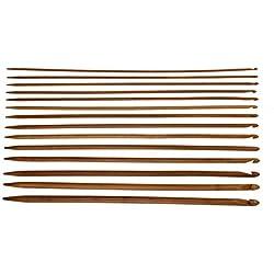 Katech 14 Pieces Knitting Needles Ergonomic Long Crochet Hooks 2-in-1 Bamboo Wooden Crochet Needles Set Different Sizes (3.0-10.0 mm) Crochet Kit DIY Hand Craft Yarn Weaving Tools for Knitting Lovers