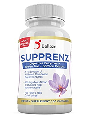 Digestive Enzymes + Appetite Suppressants. Broad Spectrum Plant Based Enzymes + Saffron and Green Tea Extracts. Made in USA. Patent Pending Supprenz, by Belleze.