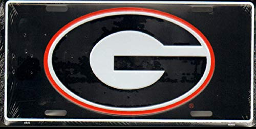 - World Flags Direct Made in The USA - University of Georgia Bulldogs Black License Plate, Licensed NCAA Flag Aluminum 6