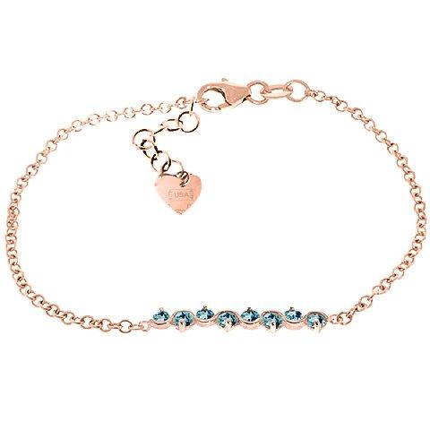 QP bijoutier topazes bleues Bracelet en or Rose 9 carats, 1.55ct 5082R-ronde