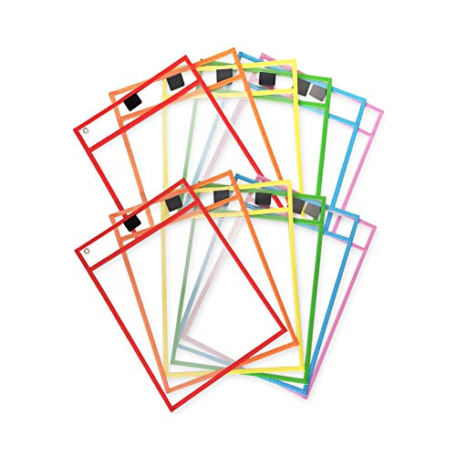 Reusable Dry Erase Pocket Sleeves with Marker Holder (12 Pack) - 9.5 x 12 Inches - Assorted Colors, Adult and Children. Ideal to Use for School, Work, Teaching, Playing, Drawings, or Fun.
