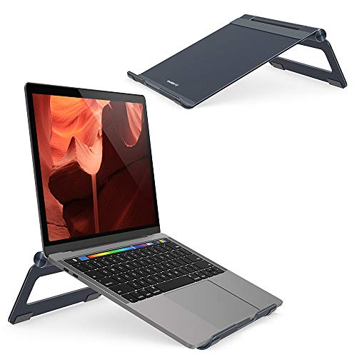 Nulaxy Adjustable Multi-Angle Laptop Stand Compatible with MacBook Pro/Air, Apple Laptop, 7-17 Notebook and Tablet Desktop Space-Saving Holder with Anti-Slip Silicone Pad, Grey