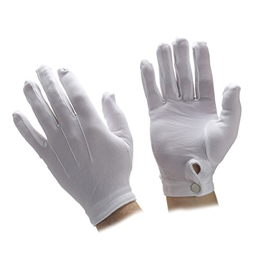 White Nylon Snap Closure Parade Gloves by the dozen