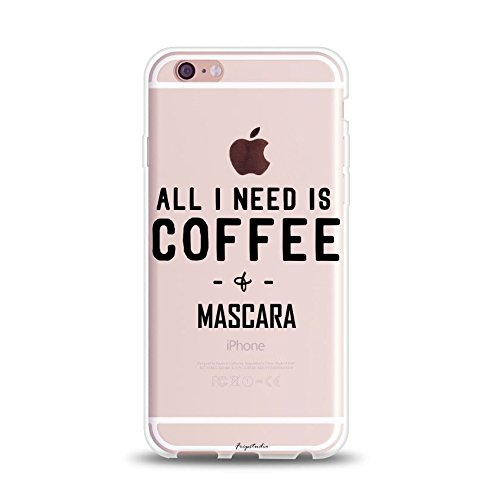 Funny Saying Stuff For Teens Teenager Compatible Girl Life Funny Slogan Sassy Quote Saying All I Need Is Coffee & Mascara Funny Clear Soft Case Replacement for iPhone 8 Plus/iPhone (Phone Coffee)