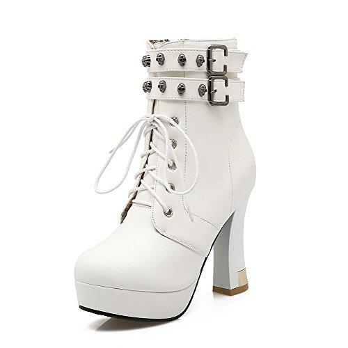 AgooLar Women's High Heels Low Top Solid Zipper Boots White
