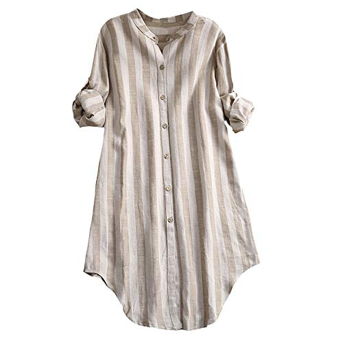 (Womens Tunic Blouse Button Up Pullover Tops Cotton Striped Plus Size Shirts Khaki )
