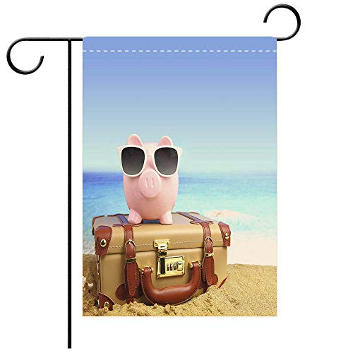 - BEICICI Custom Personalized Garden Flag Outdoor Flag Piggy Bank Wearing Sunglasses on Suitcase at Beach Decorative Deck, Patio, Porch, Balcony Backyard, Garden or Lawn