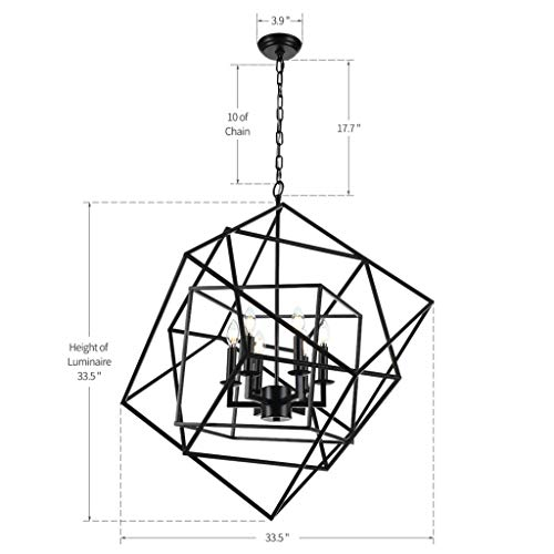 Caged Cubist Pendant Metron Chandelier 6 Light Multifaceted Frame Interlock Black