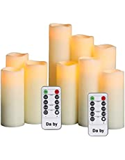 """Da by LED Flameless Candles Battery Candles Set of 9(H 4"""" 5"""" 6"""" 7"""" 8"""" 9"""") Ivory Real Wax Pillar Candles with Remote Timer by (Batteries not Included)."""