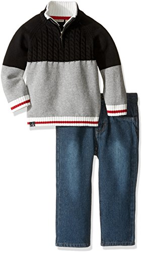 Calvin Klein Little Boys' Toddler Color Block Sweater with Jeans, Black, 3T - Block Sweater