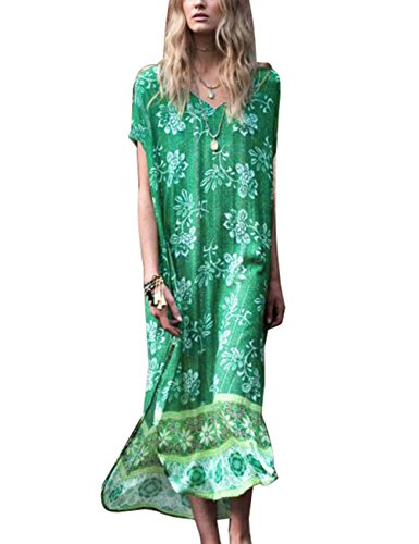 Bsubseach Women Beach Green Long Kaftan Swimsuit Cover Up Swimwear Maxi Dress Beachwear ()