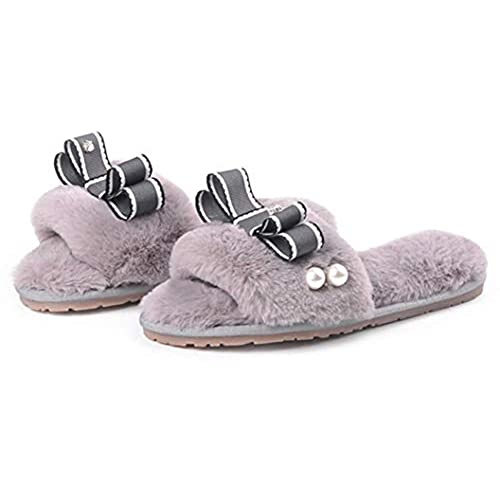 hot sell Zarbrina Womens Fur Lining Warm Home Slippers Bowknots Stitches Pearls Open Toe Single Strap Non-Skid Wear save more