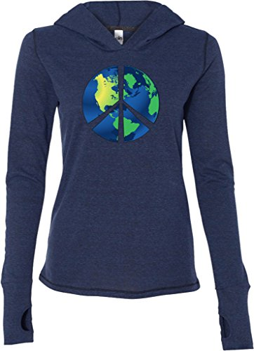 Ladies Blue Earth Peace Sign Tri Blend Hoodie, Navy, (Blue Peace Sign Womens T-shirt)