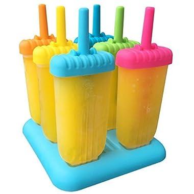 Ozera Reusable Popsicle Molds Ice Pop Molds Maker, Set of 6,Multi Colors