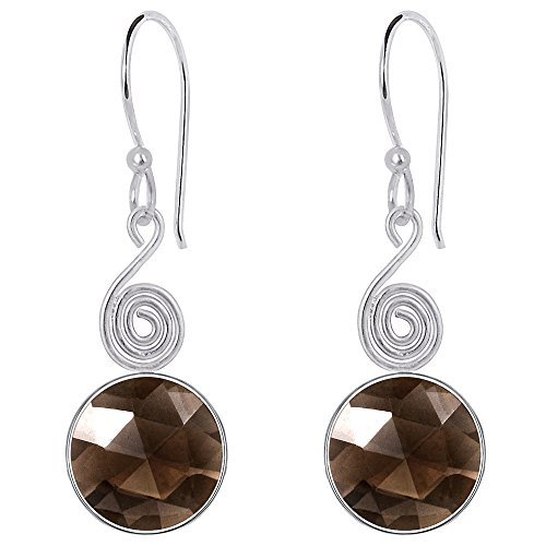 Smoky Quartz Gemstone Silver Overlay Checkerboard Round Dangle Earrings For Women's And Girls, Natural Gemstone, Handcrafted, Best Gift For Any Occasion, Free Gift Box (12 MM, 8.25 Cttw) (Jewelry Quartz Silver Box Smoky)